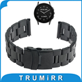 22mm correa de acero inoxidable para el vector luna meridiano smart watch band hebilla de seguridad pulsera + herramienta + alfileres de plata negro