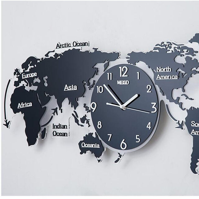 Online shop geekcook120x55cm nordic modern simple geometric wall geekcook120x55cm nordic modern simple geometric wall clock world map creative decoration clock living room background wall clock gumiabroncs Choice Image