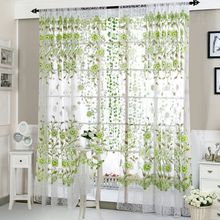 Modern Floral Tulle Perspective Curtains For Living Room Offset Printed Peony Bedroom Kitchen