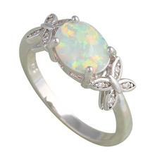 Office style Zirconia design White fire Opal Silver Stamped Rings for Ladies fashion jewelry USA size #6#7#8#9#10 OR657A