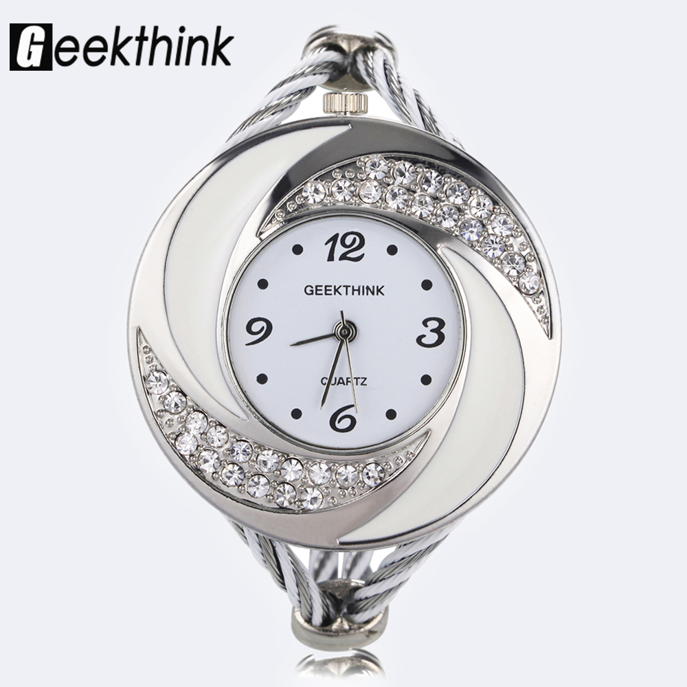 Fashion Rhinestone Diamond Whirlwind Design Design Steel Weave Dress Wristwatch Woman Girl տիկնայք ձեռնաշղթա Bangle Quartz watch