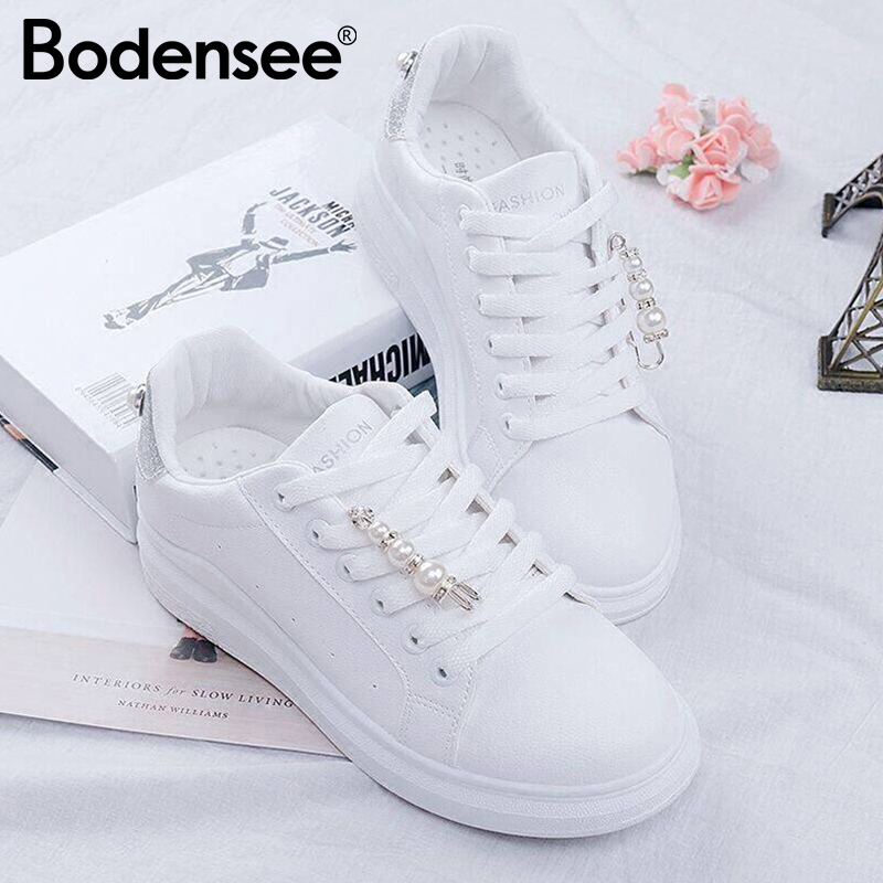 BODENSEE Women Shoes PU Leather Women's Vulcanize Shoes Sneakers Candy Color Women Rubber Sole Ladies Shoe With Pearl