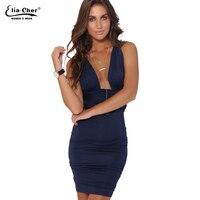 שמלות נשים המפלגה שמלת בגדי נשים בתוספת גודל מזדמן מותג Eliacher שיק סקסי שמלות Bodycon vestidos לעטוף בצבע הכחול כהה