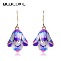 Blucome Chinese Blue And White Porcelain Flower Earrings Simulated Pearl Long Drop Hooks Earrings For Wedding