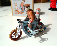 Retro Tin Toy Clockwork Rare Clockwork Tin Three Wheeled Motorcycle Collection