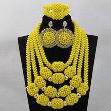 Талисманы желтый кристалл нигерийский Свадебный Бисер Ювелирные наборы африканские женщины Свадебная церемония кулон ожерелье набор QW305