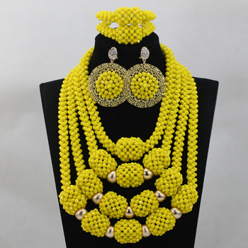 Charms Yellow Crystal Nigerian Bridal Beads Jewellery Sets African Women Wedding Ceremony Pendant Necklace Set Free Ship QW305
