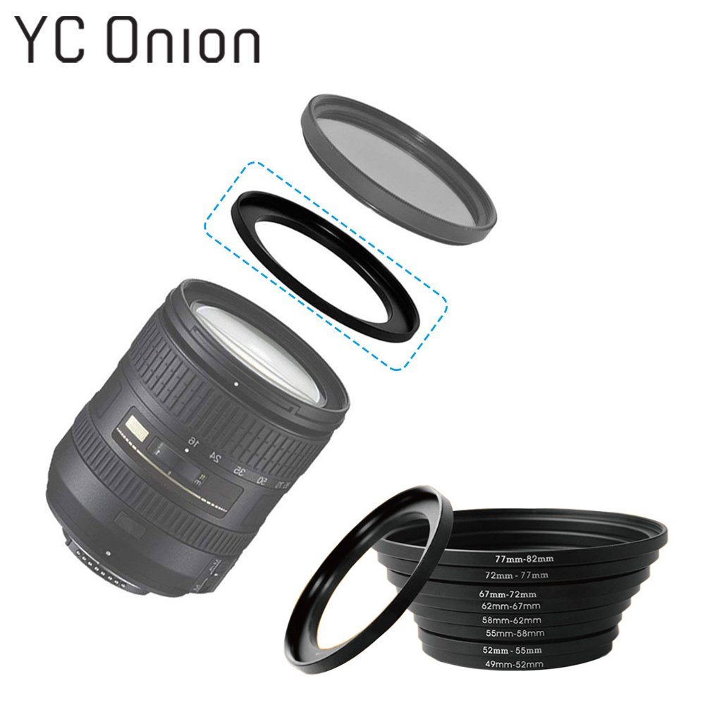 Universal Camera Lens Filter Adapter Ring Thread Male To Female Step Up 49 52 55 58 62 67 72 77 82 Mm 49-82mm Lens Adapter