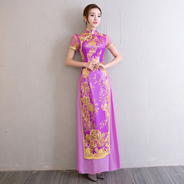 Qipao Long Cheongsams Chinese Wedding Dress 2017 Fashion Vietnam ...