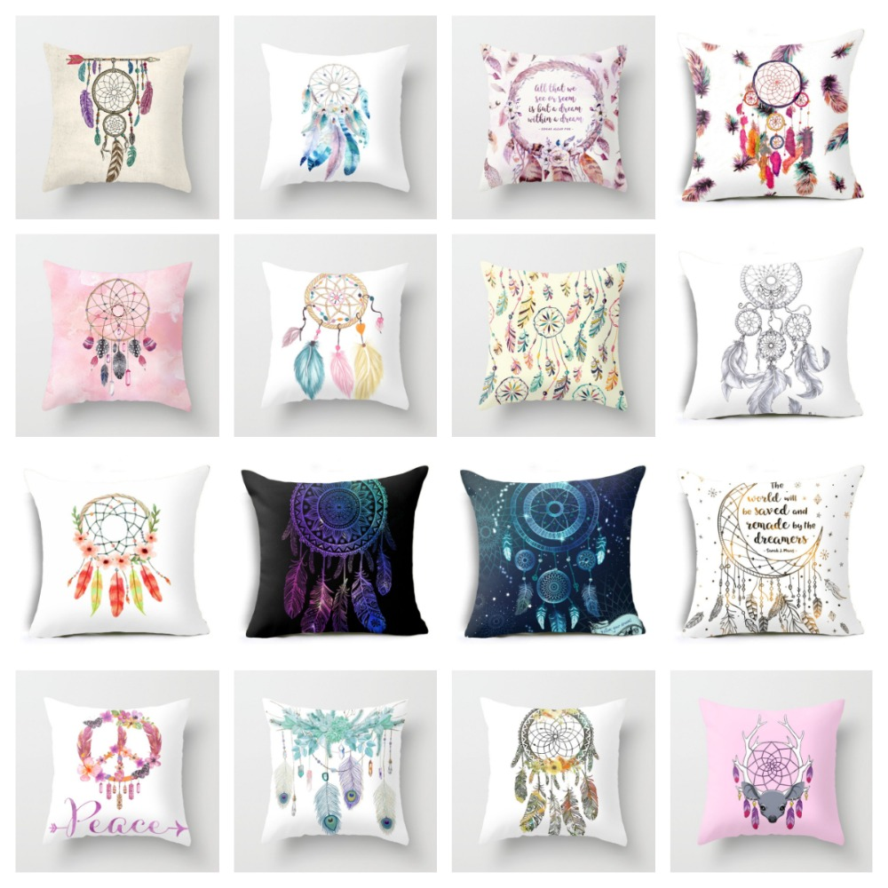 ZENGIA Feather Dream Catcher Pattern Polyester Throw Pillow Cushion Cover Car Home Decoration Sofa Bed Decorative Pillowcase