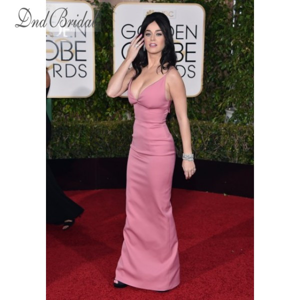 Katy Perry Pink Plunging Spaghetti Strap Backless Prom Dress Golden ...