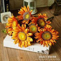 100% High Q vintage 13heads high simulation oil painting Big bunch sunflower Artificial Silk Flowers Home Christmas Decoration