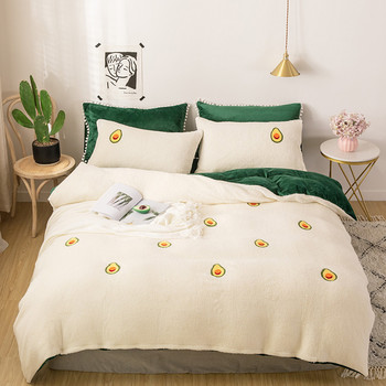 Baby Velvet AB Side Modern Style Bed Set 4pcs Duvet Cover Pillowcase Bed Sheet Little Flowers Avocado Carrot Peach Pig Soft Warm
