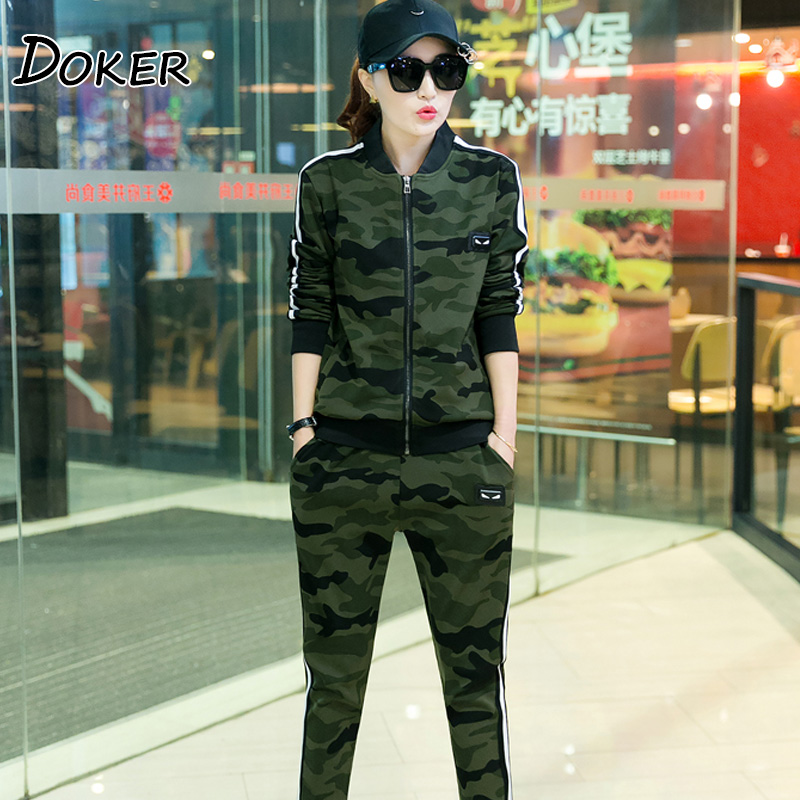 Camouflage Two Piece Set Tracksuit Women Zipper Cardigan Tops And Pants 2pcs Sweatshirts Female Army Green Casual Sporting Suits