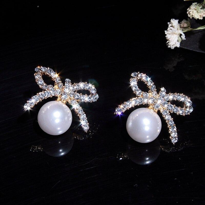 Charm Cute Rhinestone Bow Earrings Plated Elegant Pearl Earrings for Women Fashion Jewelry