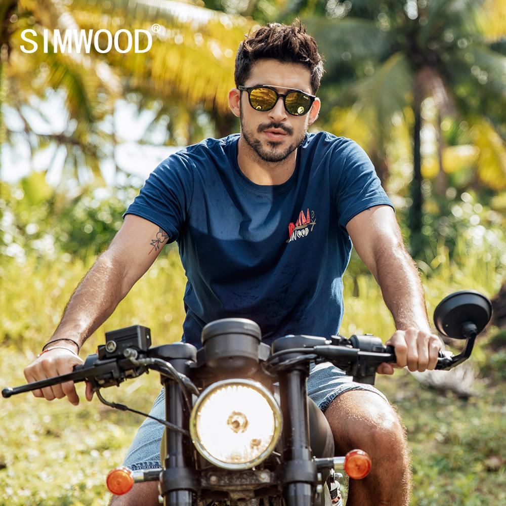 SIMWOOD Summer New T-Shirt Men 100% Cotton Print Short Sleeve Tops Fashion Male Tees High Quality Plus Size Clothes 190156