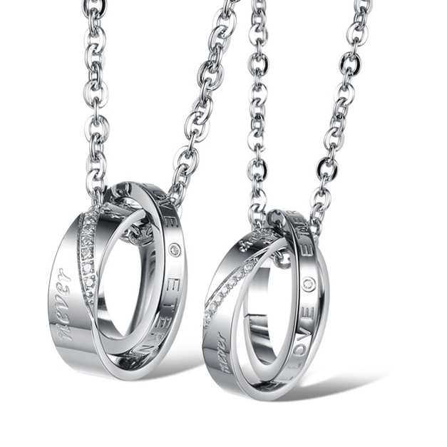 Promotion Sale Fashion Jewelry Hight Quality 316L Stainless Steel Silver Round Lovers Pendant Necklece,One Ball Chain For Free