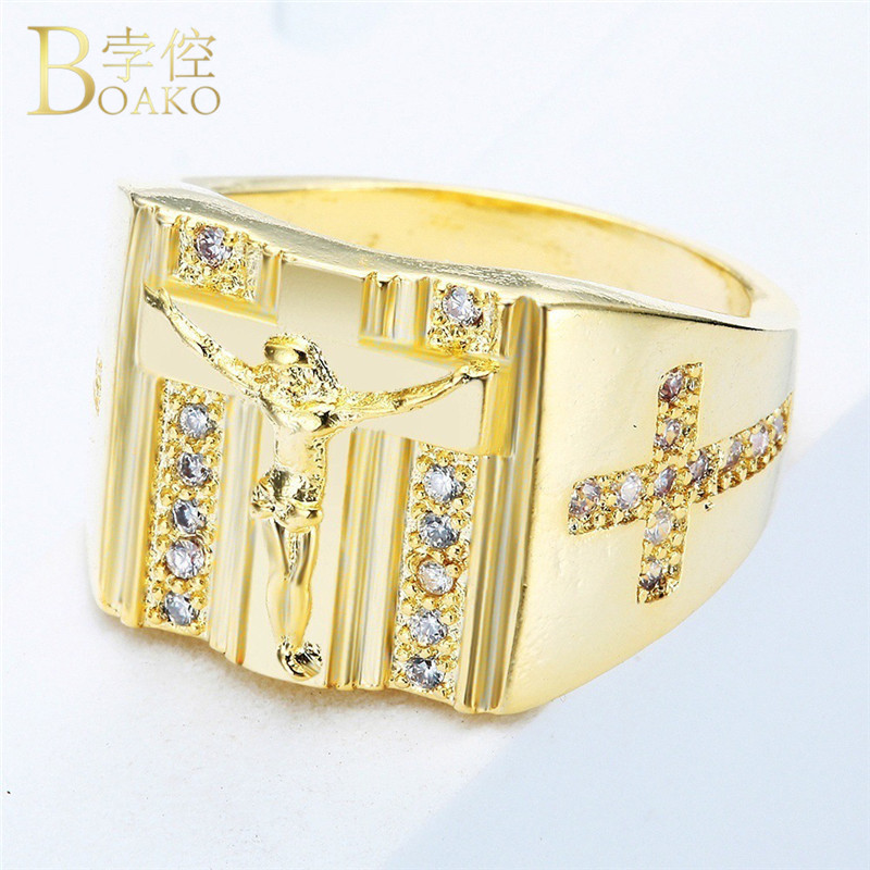 Christ Jesus Cross Ring Gold Color Rings For Women Men Zircon Christianity Saint Worship Jewelry Size 5 To 10 Bague Femme Z2