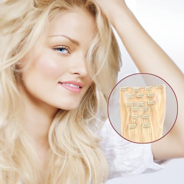 """16 """" - 28 """" extensões de cabelo humano 70 G 80 G 100 G 120 G cores cabelo com grampos de cabelo Remy indiano clipe em extensões"""