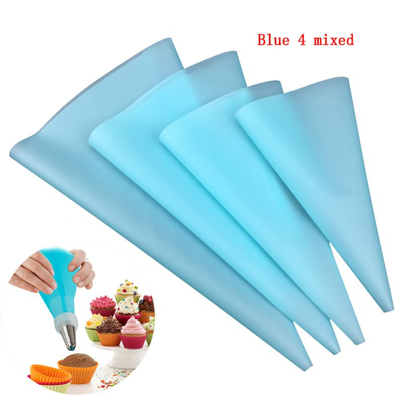 DIY 4psc/set Pastry bags 3 size silicone reusable pipe icing cream bake ware pastry  cake decorating tool kitchen