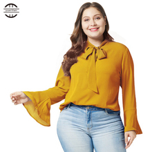 2019 New Spring Big Size Women Shirts Elegant Flare Sleeve Solid Tops  Casual Long Sleeve Bow Blue Tee Shirt Femme XL Plus Size цены