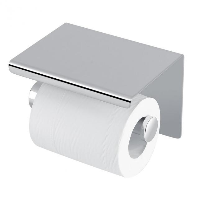Walfront Toilet Stainless Steel Paper Holder Storage Rack Shelf Kitchen Bathroom Washroom Wall Mounted Roll