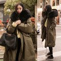2016 Fashion Women Large Fur Coat Winter Jacket Women Thicken Warm Padded Cotton Parkas Army Green Long Coat Military ParkaCD556