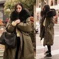 2016 Moda Feminina Grande De Pele Casaco de Inverno Mulheres Jaqueta Engrossar Quente Algodão Acolchoado Parkas Longo Casaco Verde Do Exército Militar ParkaCD556