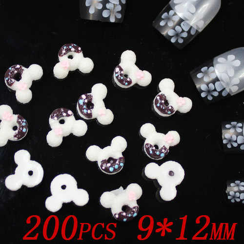 wholesale 200pcs 12x9mm black color Mickey cookies resin Flatback applique for nail art 3d nail stickers