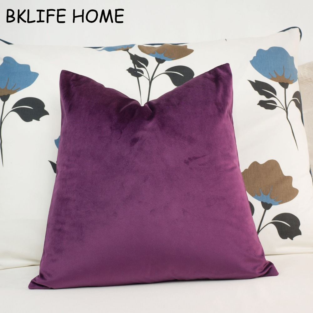 Lovely Quality Fuchsia Velvet Pillow Case Cushion Cover Red Purple Pillow Cover No Balling-up Waist Pillow Without Stuffing
