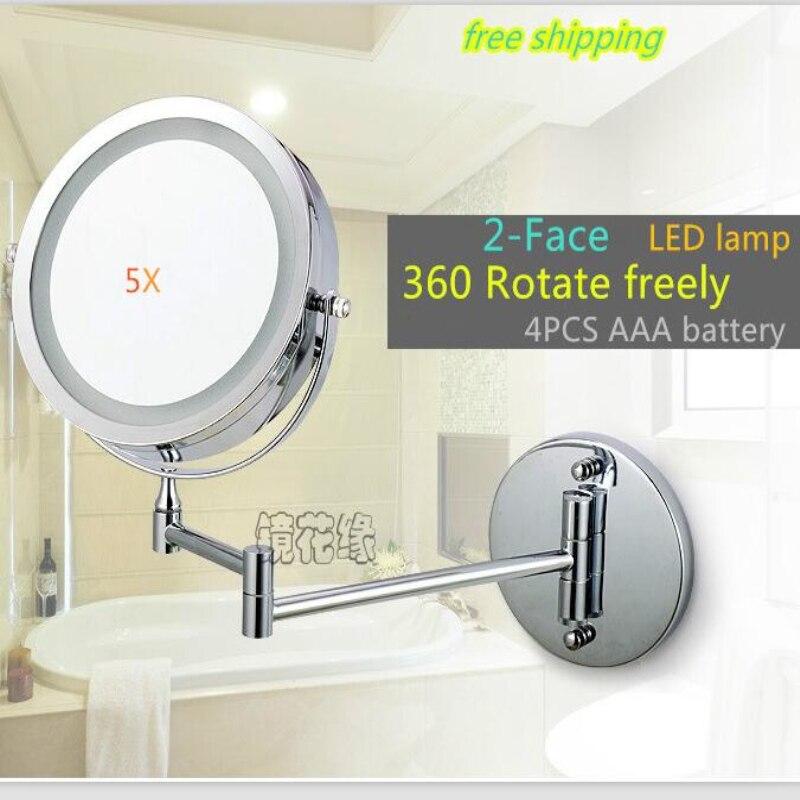 7 pollice Doppio Braccio Estendere bagno specchio con luce LED Batteria 2-Face wall hanging Trucco specchio da bagno 5 x ingrandimento