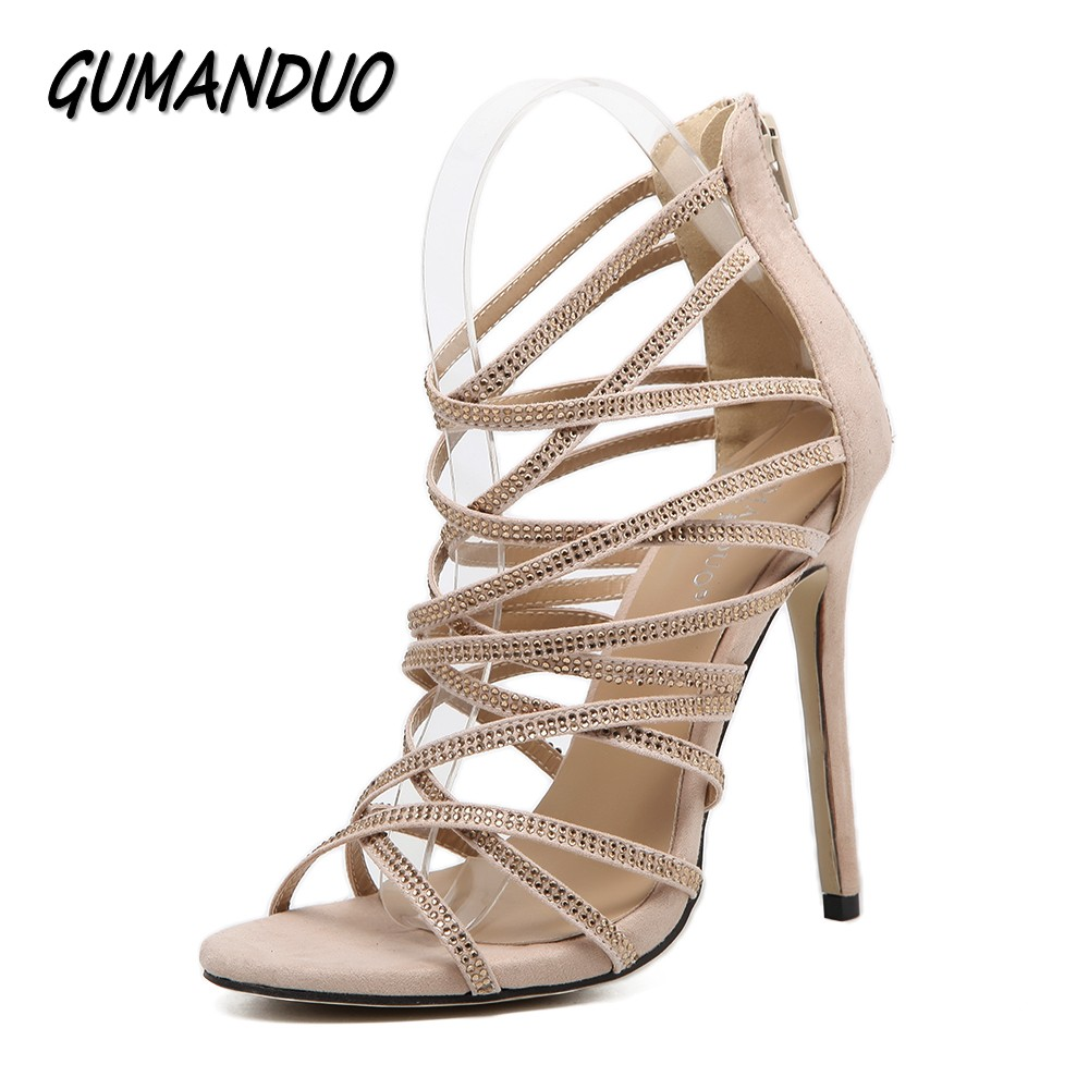 GUMANDUO New sexy women gladiator high heels sandals shoes woman peep toe rhinestone cut-outs party wedding stilettos shoes лаки для ногтей models own лак для ногтей cream sticky fingers pow red models own