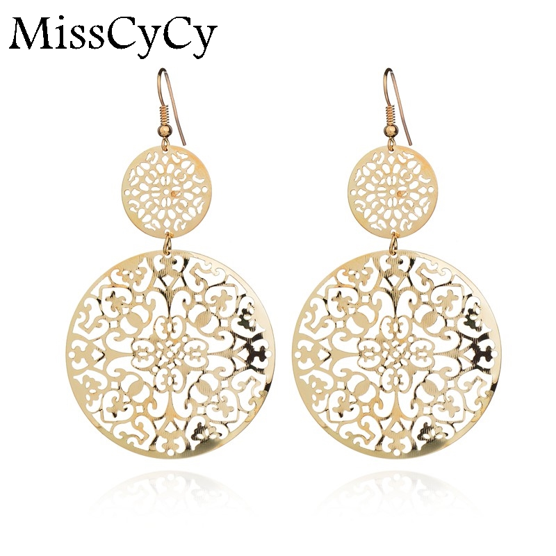 Misscycy Circle-Earrings Flowers Gold-Color Vintage Luxurious Fashion Women for Gifts