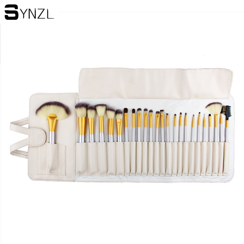 Professional 24 pcs Makeup Brush Set tools Make-up Toiletry Kit beige Make Up Brush Set with beige Case free shipping 147 pcs portable professional watch repair tool kit set solid hammer spring bar remover watchmaker tools watch adjustment
