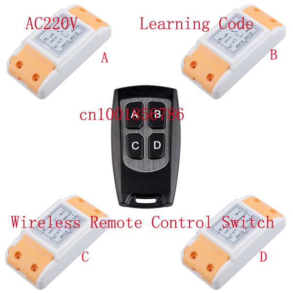 220V 10A 1CH 1500W wireless remote control system 4 Receiver &1 Transmitter smart home Learning code adjustable 315/433MHZ