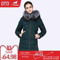 ICEbear 2017 New Women Winter Large Silver Fox Fur Collar Hooded Woman Parka Womens Coats Thick Jacket Four Colors 16G6105D