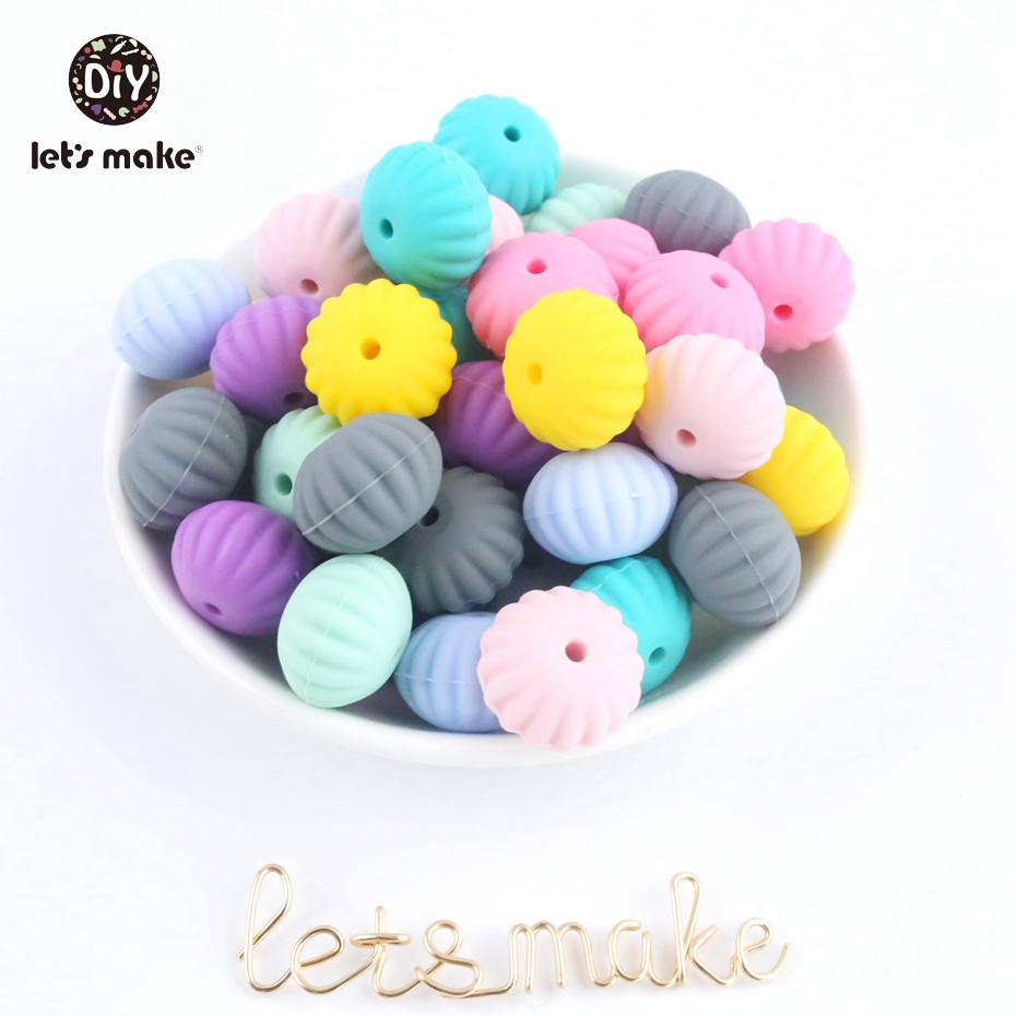 Let's Make 20pc Silicone Scallop Beads Sensory Chewing Toy High Quality Baby Bit Toy BPA FREE Non-Toxic DIY Crafts Accessories