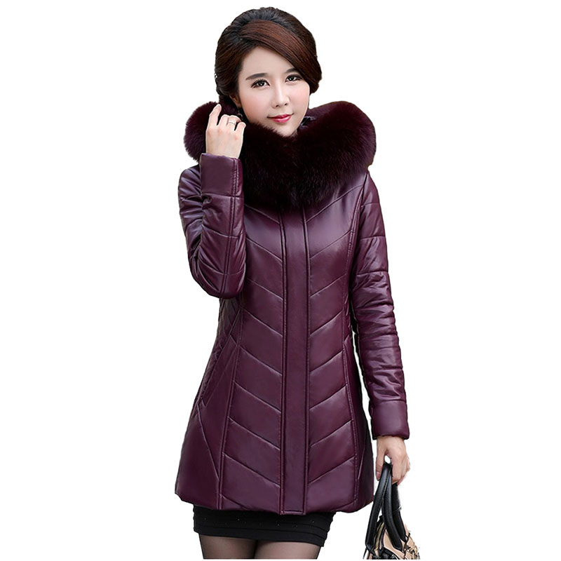 Winter   Leather   Jacket Womens 2018 New Thicken Cashmere Parkas Fur collar Hooded Coat Plus size L-8XL Slim Female Warm Coats N235