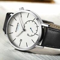 GUANQIN Mens Watches Top Brand Luxury Clock Men Watch Band Leather 30M Waterproof Quartz Wristwatch Relojes