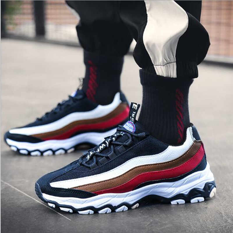 2019 Spring New Men's Shoes Trend Casual Sports Shoes Leather Breathable Men's Running Shoes Student trend flat Shoes