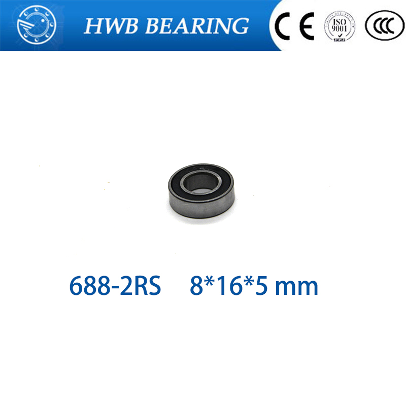Free Shipping <font><b>688</b></font> <font><b>2RS</b></font> CB 8X16X5mm chromel Steel Hybrid Ceramic <font><b>Bearings</b></font>/Bike <font><b>Bearings</b></font> image