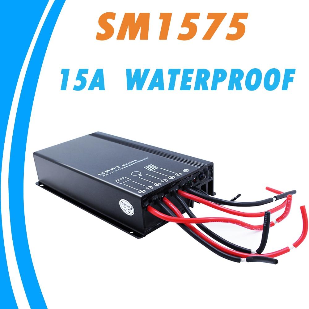 12V 24V 15A MPPT Solar Panel Regulator 5 Stages Time Adjustment Solar Charge Controller for Liquid Gel Battery IP67 Waterproof 20a 12 24v solar regulator with remote meter for duo battery charging