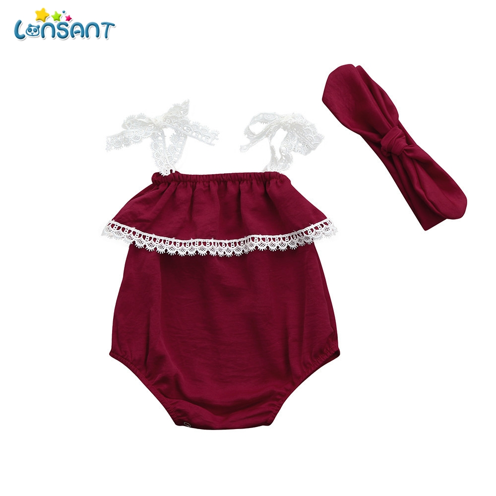 LONSANT New Summer 2Pcs Baby Girls Red Infant Solid Jumpsuit Lace Strap Sleeveless Romper+Headband Set Girls Clothes