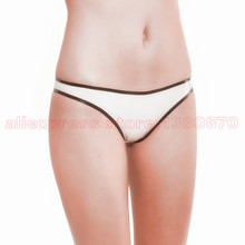 White Rubber  Latex Women Shorts Super Low Waist Panties LPW030