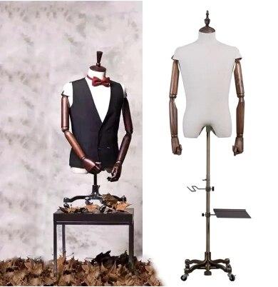 Mannequin mobile haut de gamme en bois massif Antique modèle demi-corps masculin avec pantalon chaussures Rack offre spéciale