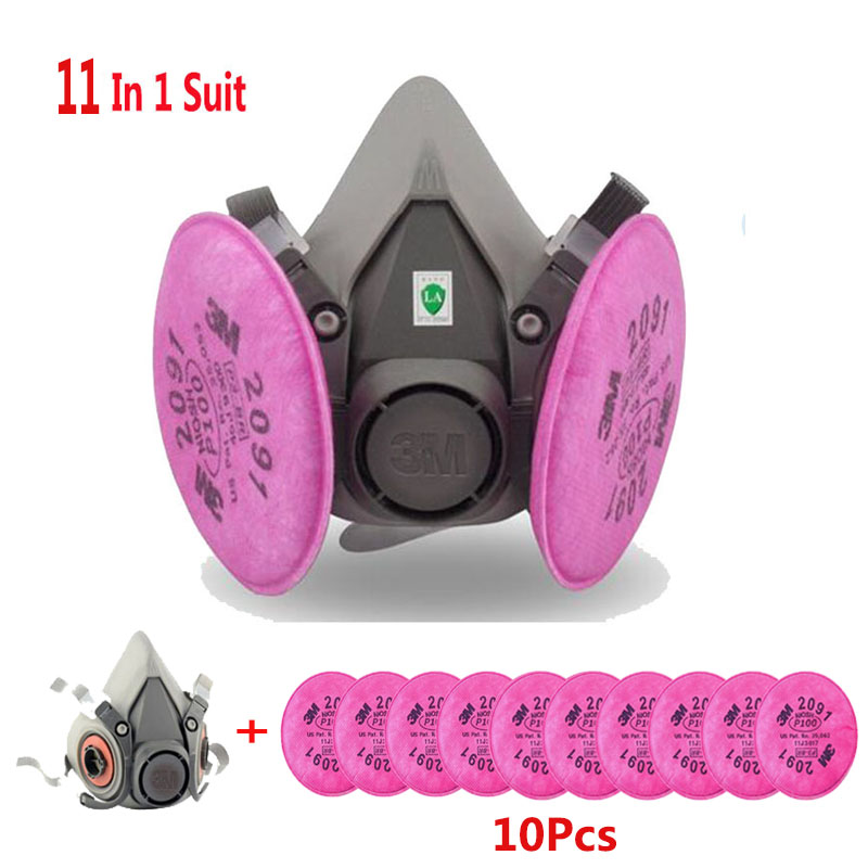 11 In 1 Suit 3M 6200 Half Face Mask With 2091 Industry Paint Spray Work Respirator Mask Anti-Dust Respirator Fliters