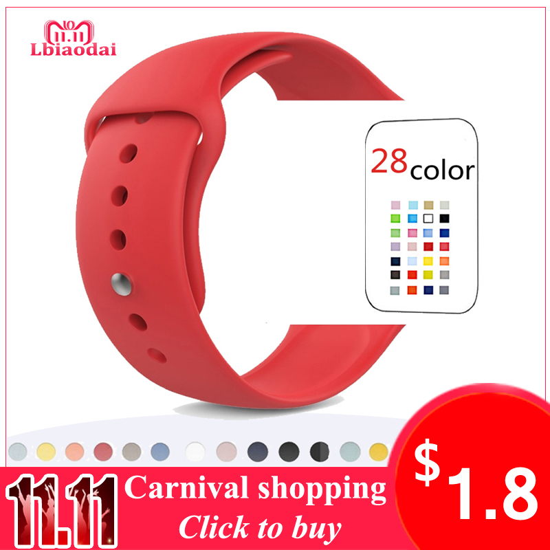 Sport Silicone Strap For Apple Watch Band 44/40mm 42mm 38mm iwatch series 4 3/2/1 correas bracelet watchband rubber wrist belt crested sport band for apple watch 42mm 38mm bracelet strap iwatch nike 3 2 1 breathabe wrist watchband rubber watch band strap