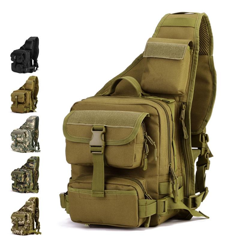 Prix pour 2016 nouveau Homme Armée Tactique Poitrine Pack Militaire Molle Épaule Messenger Sacs Camping En Plein Air Moto Balade À Vélo Sac