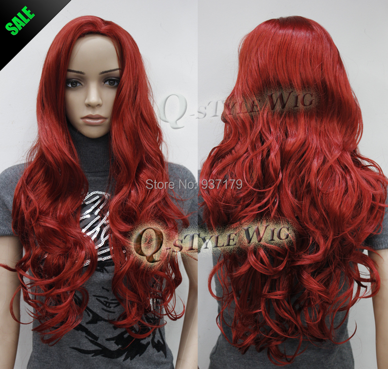 Jessica Rabbit Hairstyle Inspired Synthetic Long Wavy Dark Red