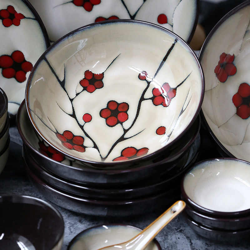 ANTOWALL Japonês Porcelana Ameixa Vermelha Domésticos Talheres Jogo de Jantar de Cerâmica Prato Fundo Prato Molho de Soja Prato de Sopa tigela de Arroz tigela Pequena